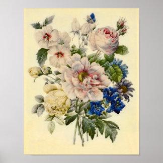 Ramo botánico del vintage de flores mezcladas impresiones