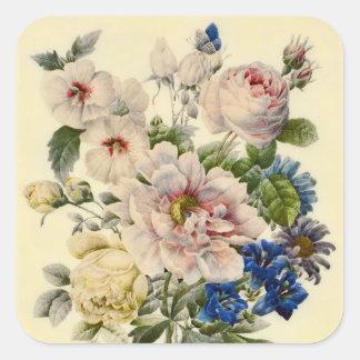 Ramo botánico del vintage de flores mezcladas pegatina cuadradas