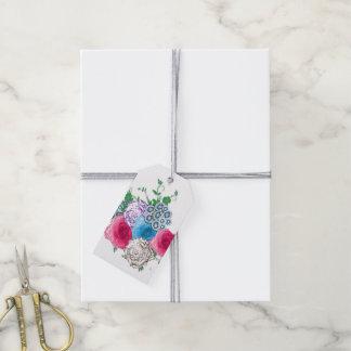 Ramo color de rosa floral clásico etiquetas para regalos