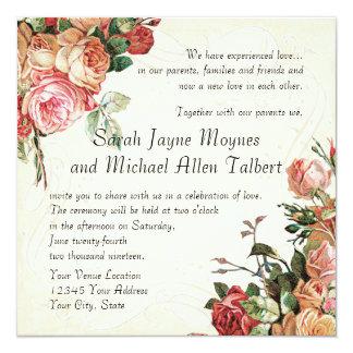 Ramo color de rosa inglés, hoja moderna del invitación 13,3 cm x 13,3cm