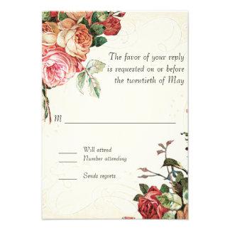 Ramo color de rosa inglés hoja moderna del remoli invitacion personalizada