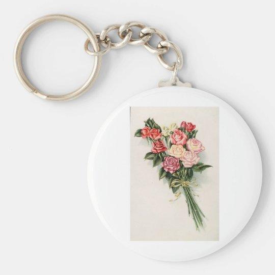 Ramo color de rosa llavero redondo tipo pin