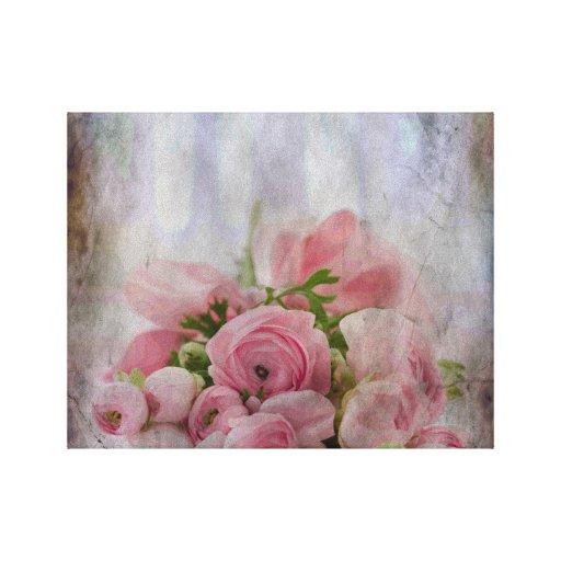 Ramo color de rosa nupcial del vintage lona envuelta para galerias