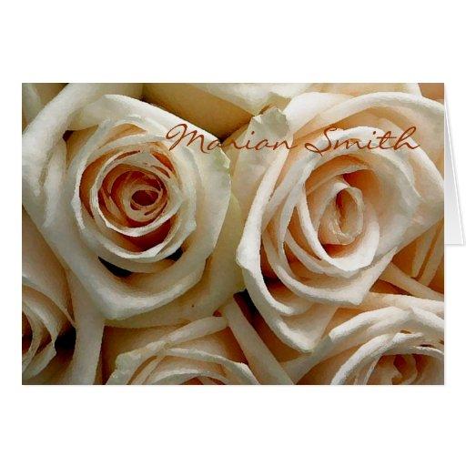 Ramo color de rosa poner crema Placecard Tarjeta Pequeña