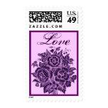 Ramo color de rosa púrpura del amor de la berenjen sello