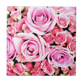 Ramo color de rosa rosado azulejos