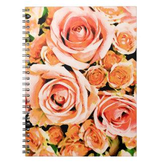 Ramo color de rosa rosado del melocotón libretas
