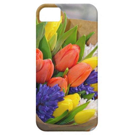 Ramo colorido de los tulipanes de la primavera iPhone 5 Case-Mate protector