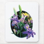 Ramo con los iris japoneses alfombrillas de ratones