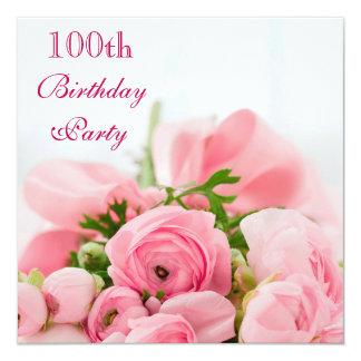 """Ramo de 100o cumpleaños de los rosas rosados invitación 5.25"""" x 5.25"""""""