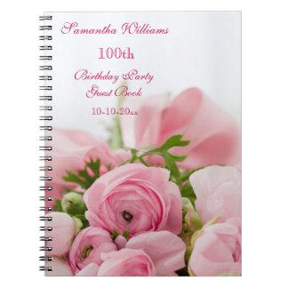 Ramo de 100o cumpleaños de los rosas rosados libretas espirales