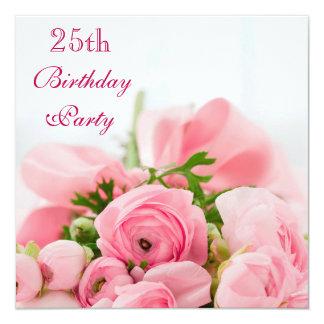 """Ramo de 25to cumpleaños de los rosas rosados invitación 5.25"""" x 5.25"""""""