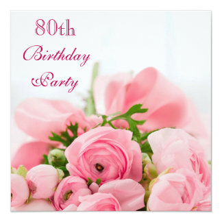 """Ramo de 80.o cumpleaños de los rosas rosados invitación 5.25"""" x 5.25"""""""