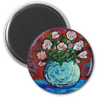 Ramo de arte del impresionista de las flores imán redondo 5 cm