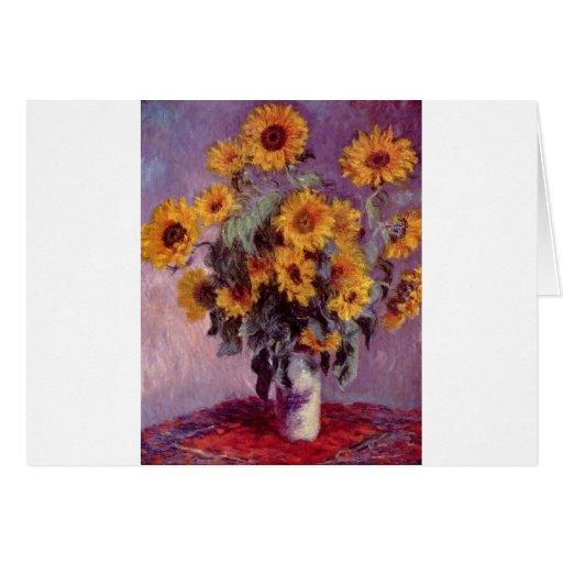 Ramo de Claude Monet de girasoles Tarjeta De Felicitación
