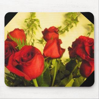 Ramo de cojín de ratón de los rosas rojos tapete de ratón