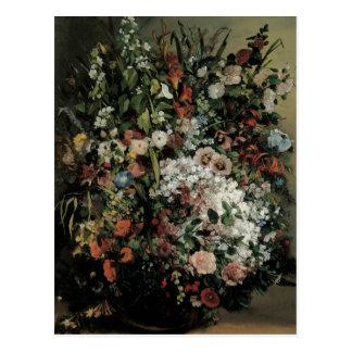 Ramo de Courbet de flores en un florero Postal