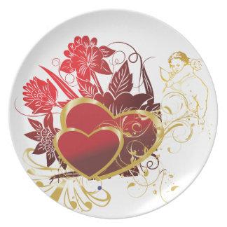 Ramo de dos corazones plato de cena