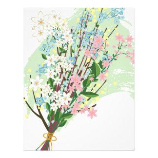 Ramo de flores de la primavera membrete personalizado