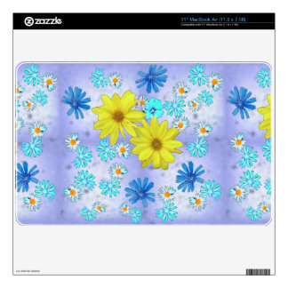 Ramo de flores en amarillo y azul skins para elMacBook