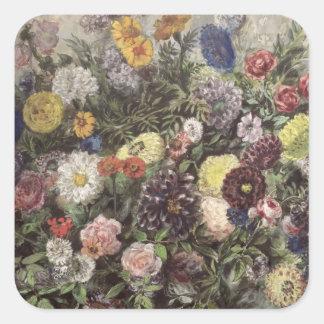Ramo de flores pegatina cuadrada