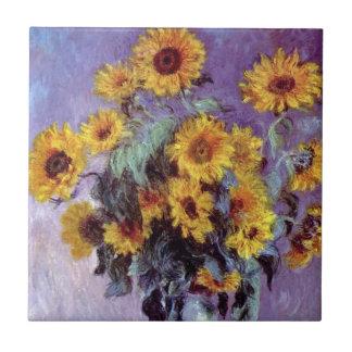 Ramo de girasoles de Claude Monet, arte del Azulejo Cuadrado Pequeño