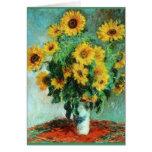 Ramo de girasoles de Claude Monet Tarjeta