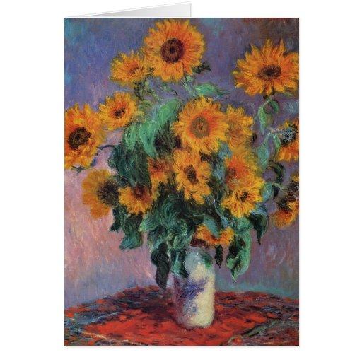 Ramo de girasoles de Claude Monet Tarjeta De Felicitación