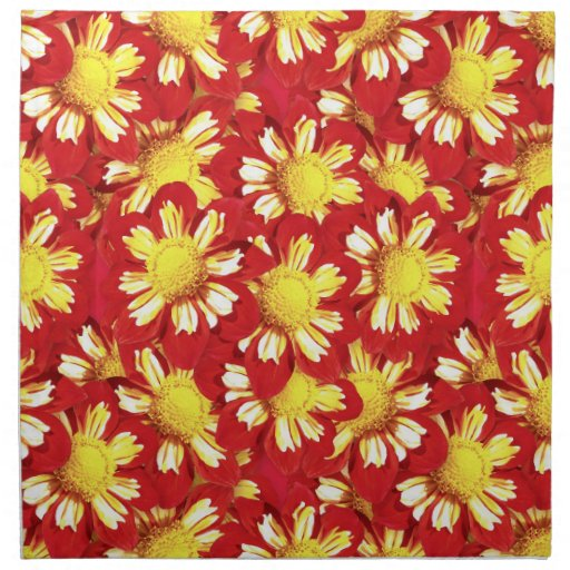 Ramo de la dalia - rojo y blanco con amarillo servilleta de papel