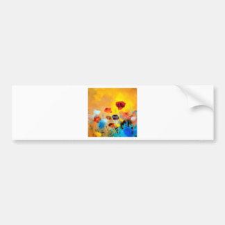Ramo de la flor de amapolas pegatina para auto