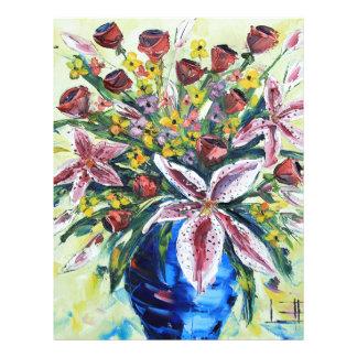 Ramo de la flor de la primavera, lirios, rosas, membretes personalizados