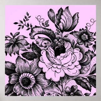 Ramo de la flor de la silueta del vintage poster