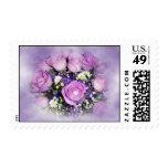 Ramo de la flor del rosa púrpura y blanco sello