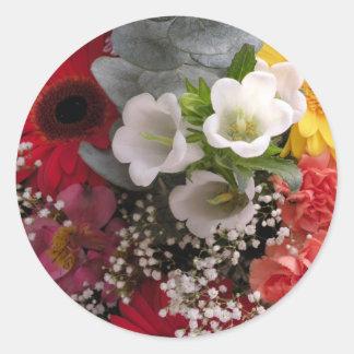 Ramo de la flor pegatinas redondas
