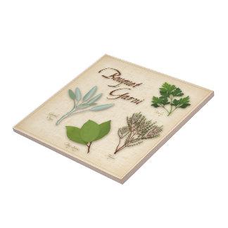 Ramo de la hierba, receta, bahía, tomillo, sabio, azulejo cuadrado pequeño