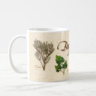 Ramo de la hierba, receta, bahía, tomillo, sabio, taza básica blanca