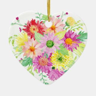 Ramo de la margarita de la acuarela adorno navideño de cerámica en forma de corazón