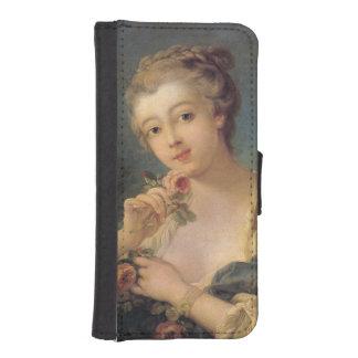 Ramo de la mujer joven de rosas de Francois Fundas Tipo Billetera Para iPhone 5