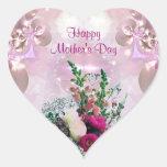Ramo de las flores - el día de madre pegatina en forma de corazón