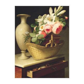 Ramo de lirios y de rosas en una cesta, 1814 impresiones de lienzo