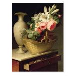 Ramo de lirios y de rosas en una cesta, 1814 postal