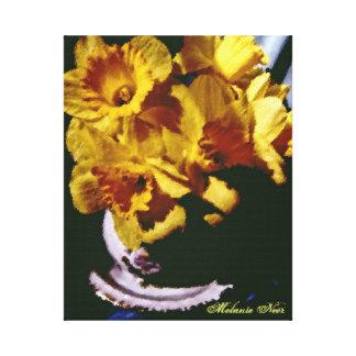 Ramo de lona de la foto de los narcisos lienzo envuelto para galerías