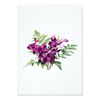 """Ramo de orquídeas púrpuras con los helechos invitación 5"""" x 7"""""""