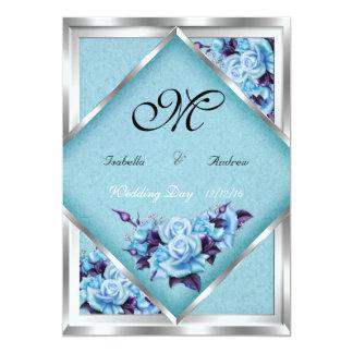 """Ramo de plata 2 del boda de los rosas púrpuras invitación 5"""" x 7"""""""