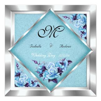 Ramo de plata del boda de los rosas púrpuras invitacion personalizada