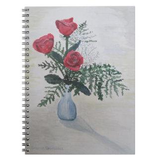 Ramo de rosas libros de apuntes con espiral