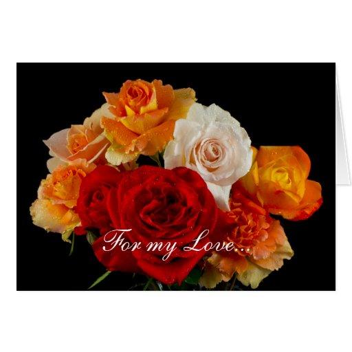 Ramo de rosas para el el día de San Valentín del Tarjeta De Felicitación
