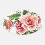 Ramo de rosas pegatinas ovaladas
