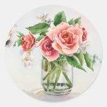 Ramo de rosas pegatinas redondas