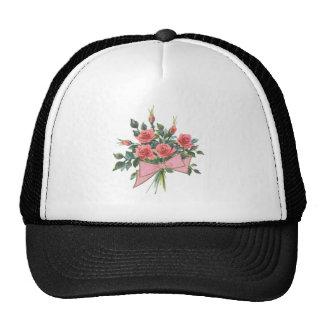 Ramo de rosas rosados gorra